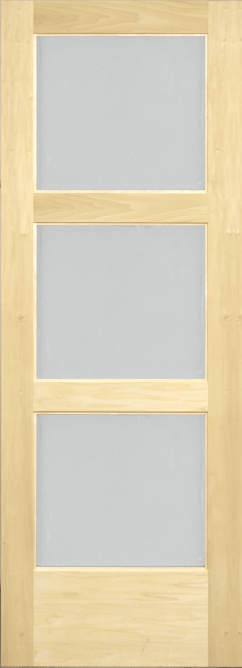 Yellow Poplar 3 Panel White Laminated Door