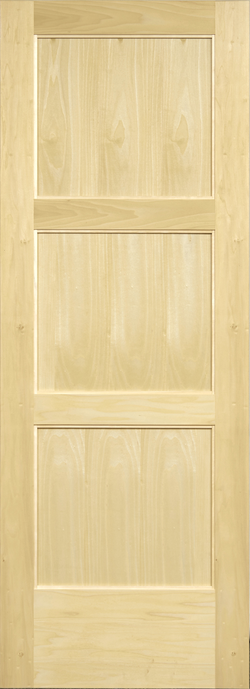 Yellow Poplar 3 Panel Door