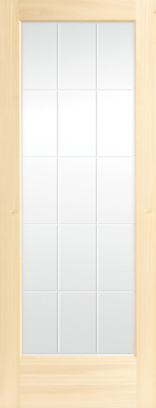 15-Lite V-Groove Decorative Glass Door