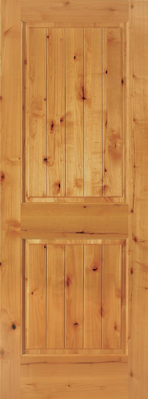 Knotty Alder 2 Panel V-Groove Door & 2 Panel Square V-Groove Doors - Global Pointe