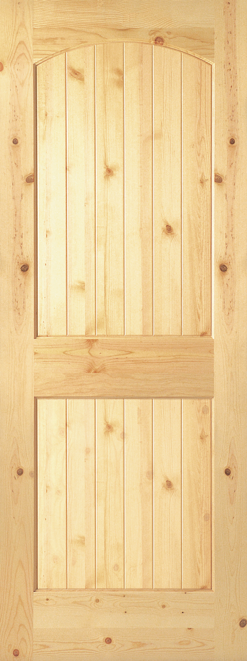 Knotty Pine 2 Panel Arch Plank Door