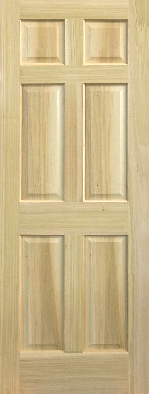 Yellow Poplar Stain Grade 6 Panel Door